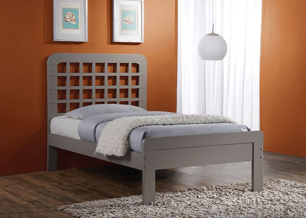 Lyford Gray Wood Full Bed w/Low Profile Footboard ACM-25373F