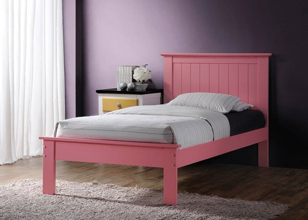 Prentiss Pink Wood Full Bed w/Panel Headboard ACM-25433F