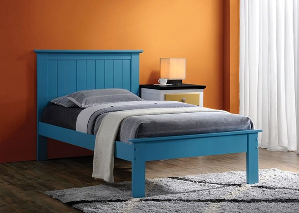 Prentiss Blue Wood Full Bed w/Panel Headboard ACM-25443F
