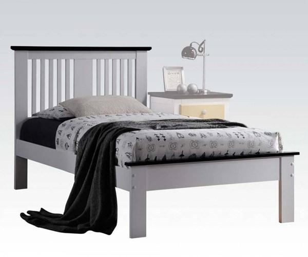 Brooklet White Black Wood Queen Bed w/Low Profile Footboard ACM-25450Q