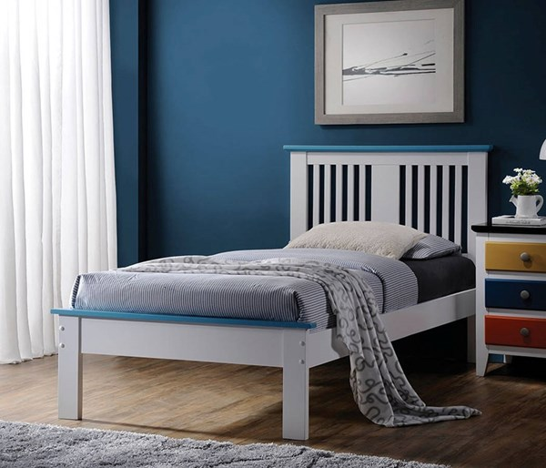 Brooklet White Blue Wood Twin Bed w/Low Profile Footboard ACM-25465T