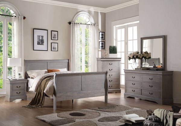 Louis Philippe III Gray Solid Wood MDF 2pc Bedroom Set W/Full Bed ACM-255-BR-S2