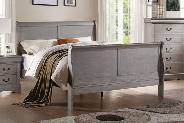 Louis Philippe III Antique Gray Solid Wood MDF Cal King Bed ACM-25494CK