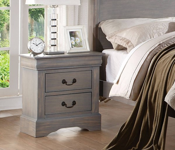 Acme Furniture Louis Philippe III Antique Gray Nightstand ACM-25503