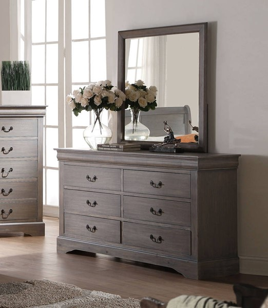 Louis Philippe III Traditional Gray Wood Glass Dresser And MIrror ACM-2550-DRMR
