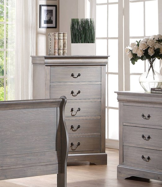 Louis Philippe III Traditional Antique Gray Solid Wood MDF Chest ACM-25506