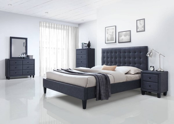 Saveria Contemporary Gray PU Wood Foam 2pc Bedroom Set W/King Bed ACM-2566-BR-S2
