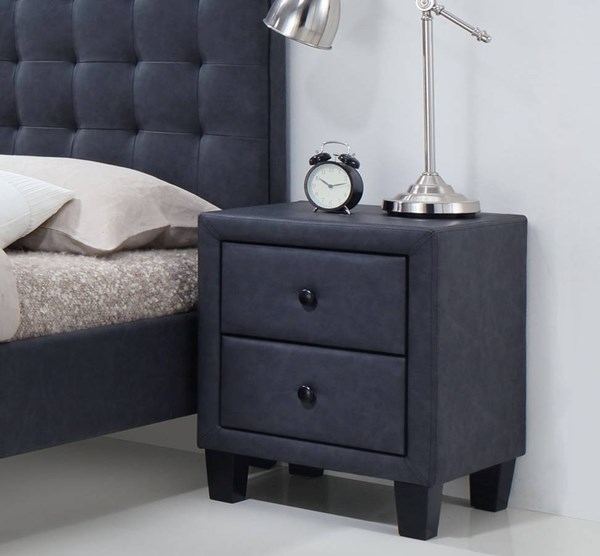 Saveria Contemporary Gray PU Wood Foam Nightstand ACM-25663