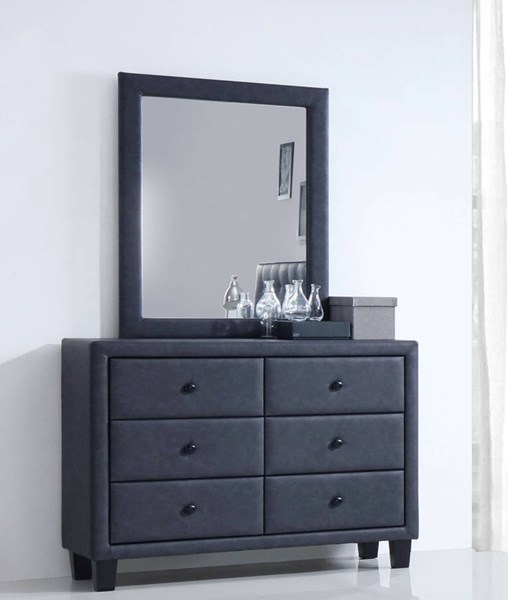 Saveria Contemporary Gray PU Wood Glass Foam Dresser And Mirror ACM-2566-DRMR