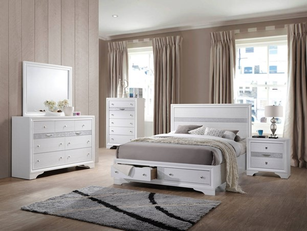 Naima Contemporary White Rubberwood Chipboard 2pc Bedroom Sets ACM-2577-BR-S