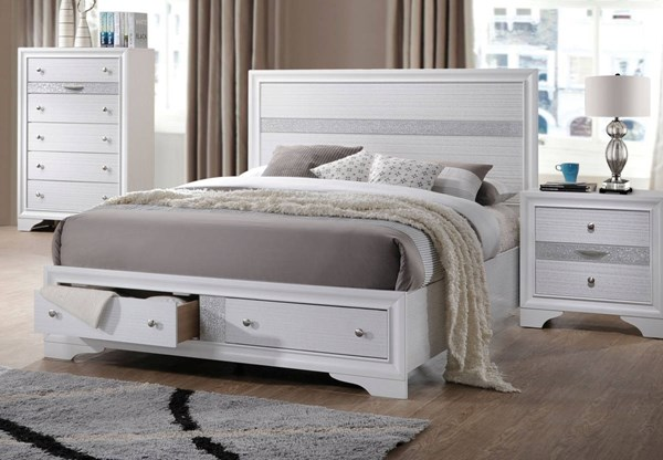 Naima Contemporary White Rubberwood Chipboard Storage Beds ACM-2577-BEDS