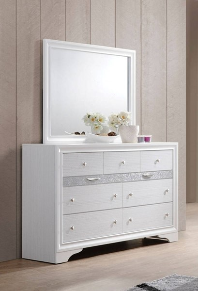 Naima Contemporary White Rubberwood Glass Dresser And Mirror ACM-2577-DRMR