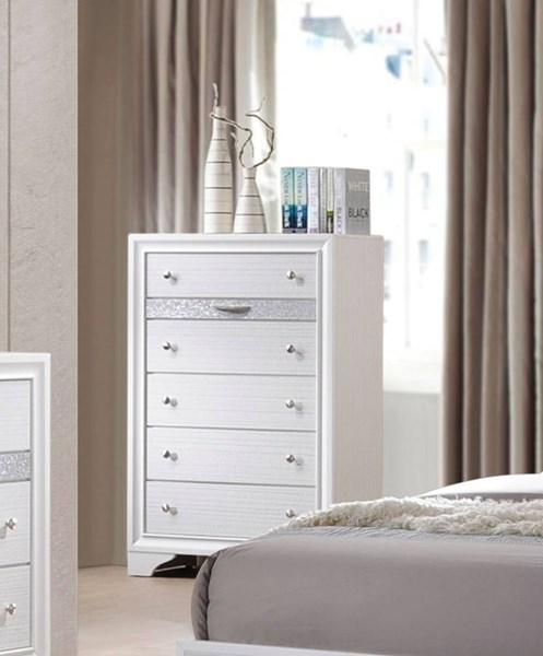 Naima Contemporary White Rubberwood Chipboard Chest ACM-25776
