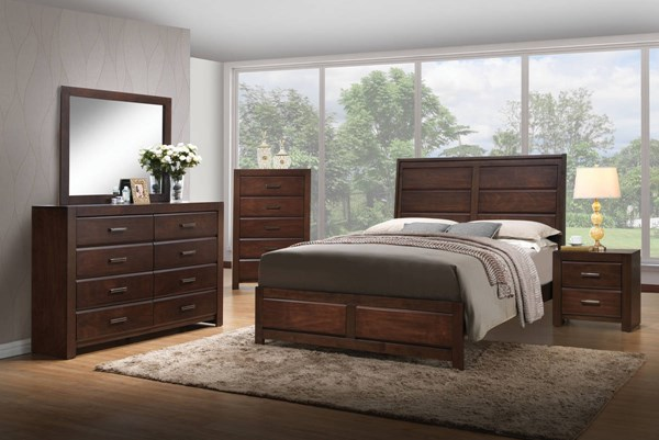 Oberreit Transitional Walnut Rubberwood MDF Master Bedroom Set ACM-2579-BR
