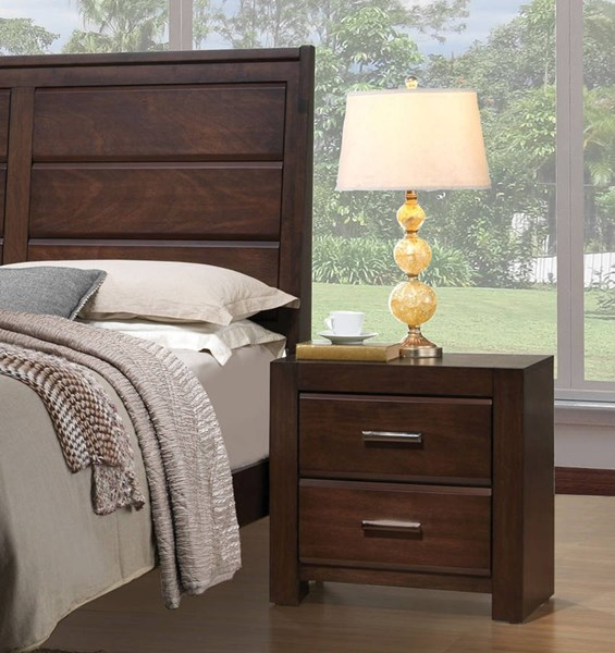 Oberreit Transitional Walnut Rubberwood MDF Chipboard Nightstand ACM-25793