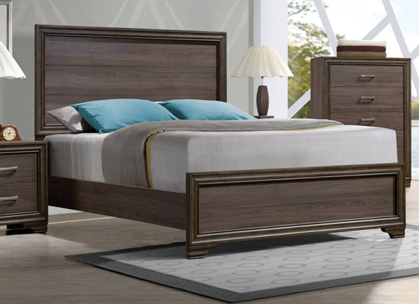 Cyrille Contemporary Walnut Solid Wood Melamine Paper King Bed ACM-25837EK