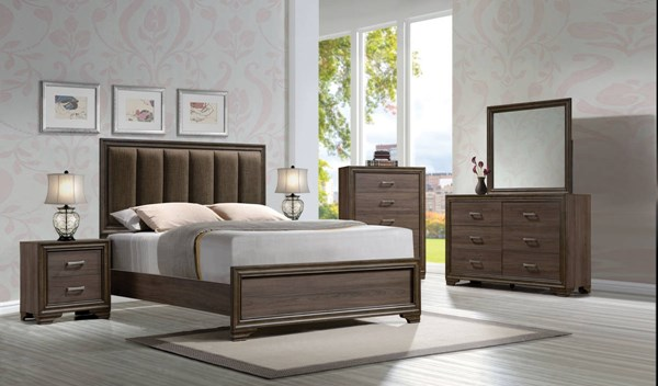 Cyrille Contemporary Walnut Solid Wood Upholstered 2pc Bedroom Sets ACM-258-BR-S-VAR