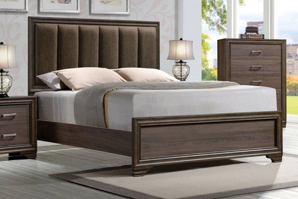 Cyrille Contemporary Walnut Solid Wood Padded Headboard Queen Bed ACM-25850Q