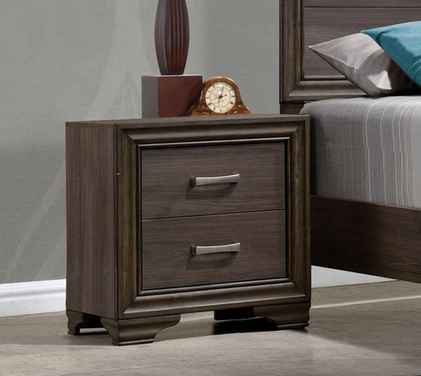 Cyrille Contemporary Walnut Solid Wood Melamine Paper Nightstand ACM-25853