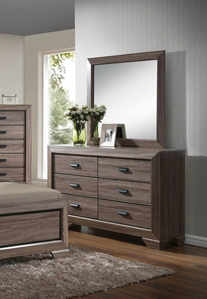 Lyndon Rustic Gray Wood Glass Dresser And Mirror ACM-2602-DRMR