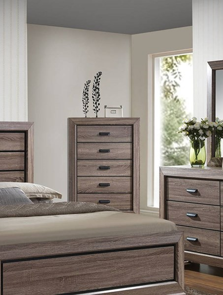 Lyndon Rustic Weathered Gray Wood 5 Drawers Chest ACM-26026