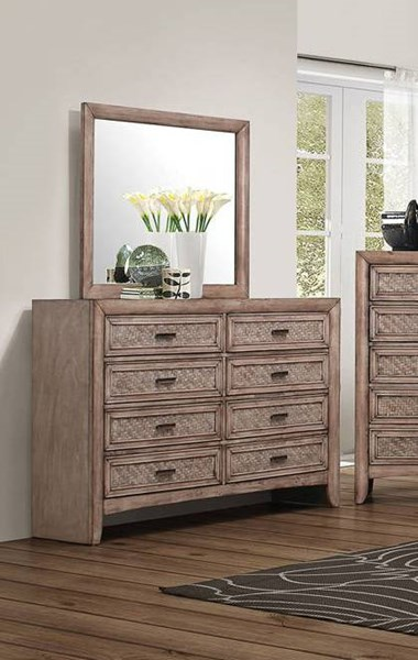 Ireton Transitional Caramel Wood Glass Dresser And Mirror ACM-2603-DRMR
