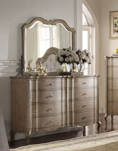 Acme Furniture Chelmsford Antique Taupe Dresser and Mirror ACM-2605-DRMR