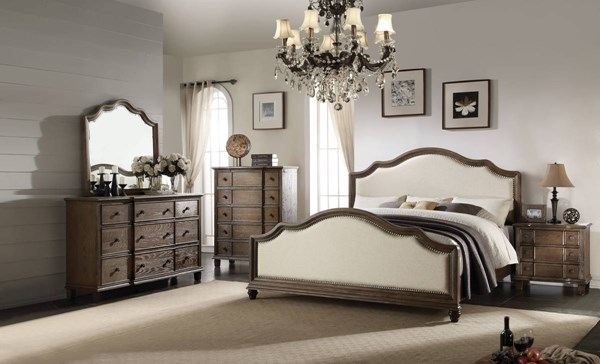 Baudouin Weathered Oak MDF Acacia Wood Beige Fabric Master Bedroom Set ACM-2611-BR