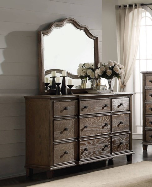 Baudouin Weathered Oak MDF Acacia Wood Glass Dresser And Mirror ACM-2611-DRMR