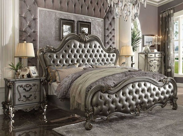 Acme Furniture Versailles II Silver Antique 2pc Bed Set with King Bed ACM-26840-BR-S2