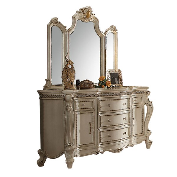 Acme Furniture Picardy Antique Pearl Dresser and Mirror ACM-2688-DRMR