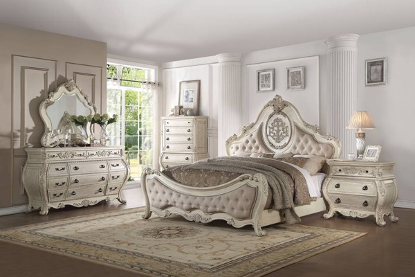 Ragenardus Antique White Fabric Wood 5pc Bedroom Set w/King Bed ACM-2701-BR-S2