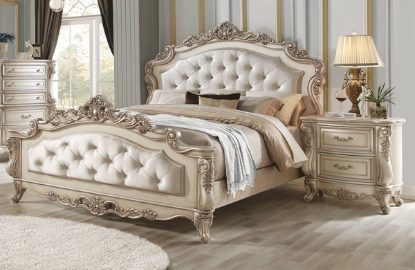 Acme Furniture Gorsedd Antique White 2pc Bedroom Set with Cal King Bed ACM-27434CK-BR-S1