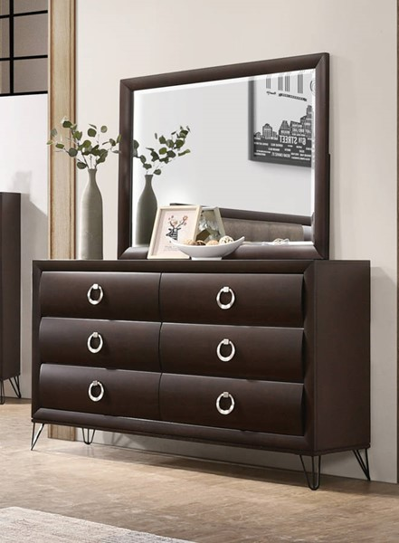Acme Furniture Tablita Dark Merlot Wood Dresser and Mirror ACM-2746-DRMR