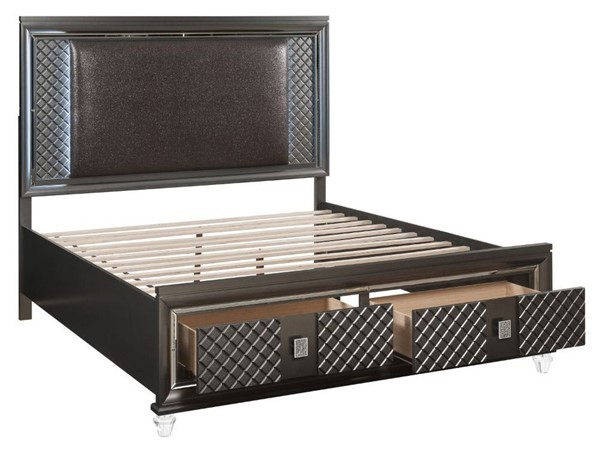 Acme Furniture Sawyer Metallic Gray LED Queen Storage Bed ACM-27970Q