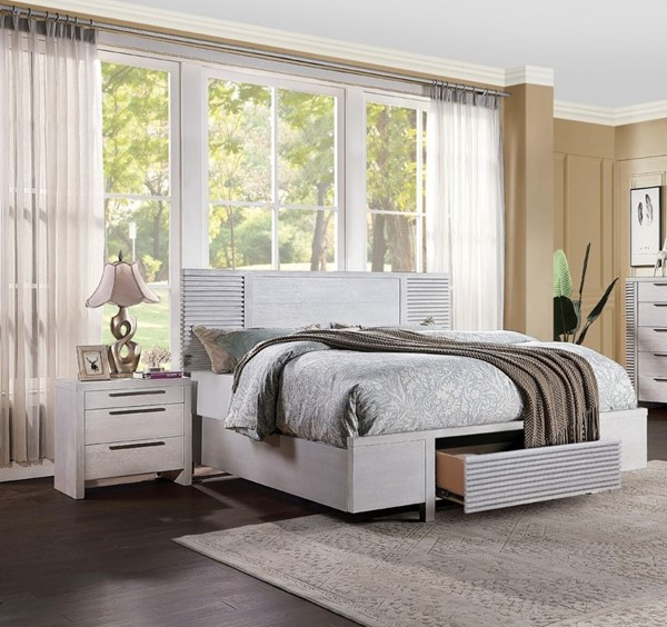 Acme Furniture Aromas White Oak 2pc Bedroom Set with Queen Storage Bed ACM-28110-BR-S1
