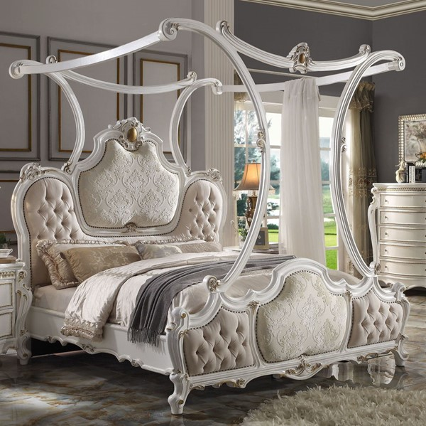Acme Furniture Picardy Antique Pearl Cal King Canopy Bed ACM-28204CK