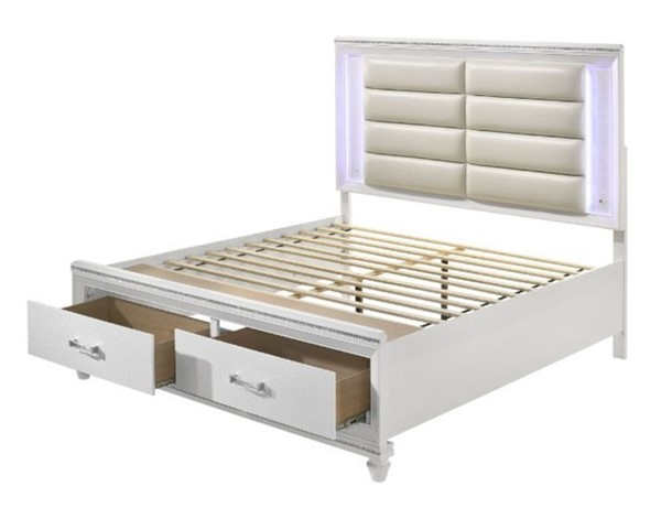 Acme Furniture Sadie Pearl White Storage King Bed ACM-28737EK