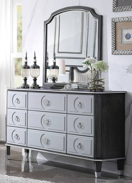 Acme Furniture House Beatrice Charcoal Light Gray Dresser and Mirror ACM-2881-DRMR
