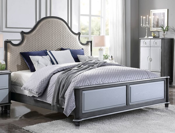 Acme Furniture House Beatrice Beige Charcoal Light Gray King Bed ACM-28807EK
