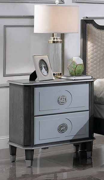 Acme Furniture House Beatrice Charcoal Light Gray Nightstand ACM-28813