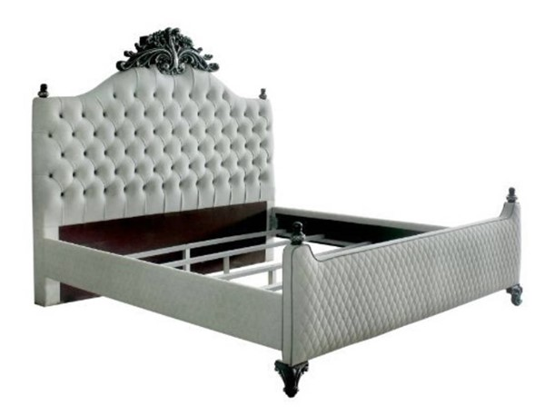 Acme Furniture House Delphine Ivory Charcoal Queen Poster Bed ACM-28850Q