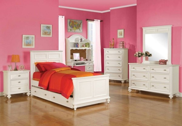 Athena White Wood 2pc Master Bedroom W/ Trundle Full Bed ACM-30200-S3