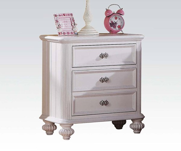 Athena Youth White Wood Unique Knobs Nightstand ACM-30009