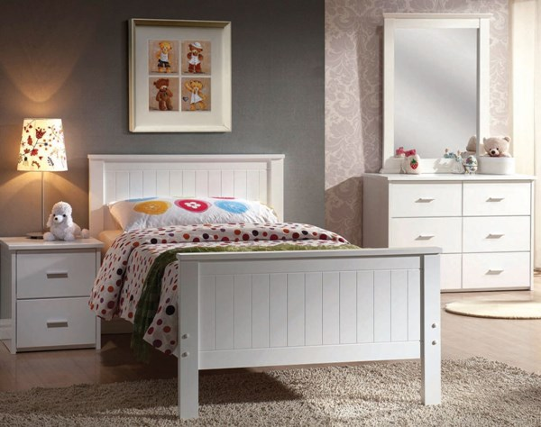 Bungalow Youth White Wood 2pc Bedroom Set W/Full Bed ACM-30020-S1