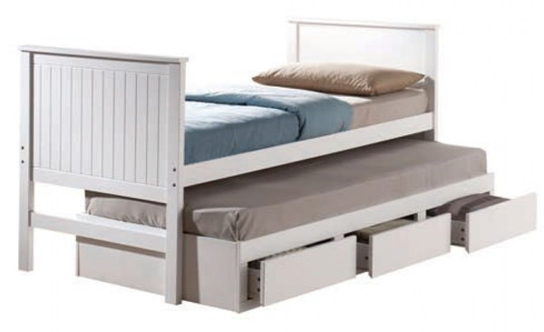 Bungalow Youth White Wood 2pc Bedroom Set W/Twin Captain Bed ACM-30020-S4