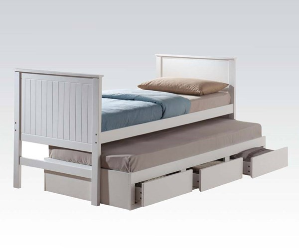 Bungalow Youth White Wood Twin Bed & Trundle w/3 Drawers ACM-30035T