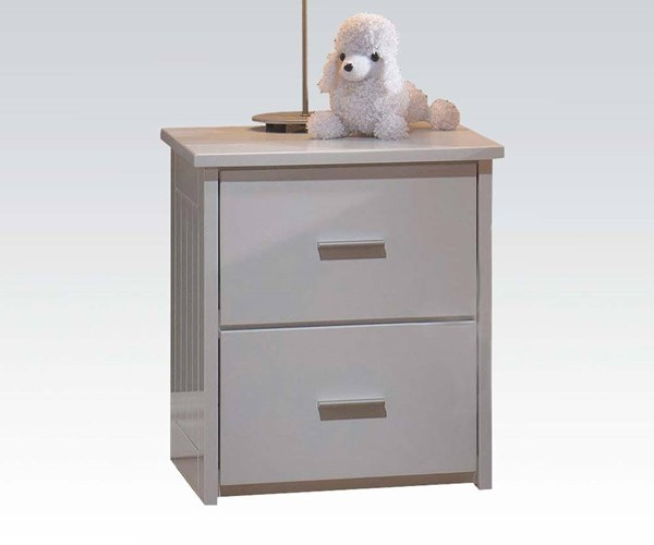 Bungalow Youth White Wood 2 Drawers Nightstand ACM-30039