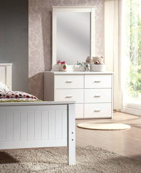 Bungalow Youth White Wood 6 Drawers Dresser ACM-30041