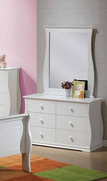 Nebo Youth White Wood Glass Dresser And Mirror ACM-30105-06